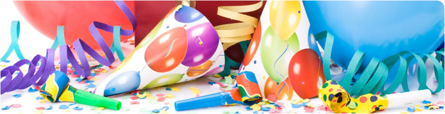 Children's party banners, balloons and streamers