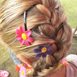 Girl with flower decorated hair