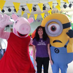 Peppa Pig and Minion mascots at party in Wrexham